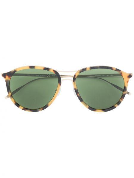Солнцезащитные очки круглые металлические хаки Tomas Maier Eyewear