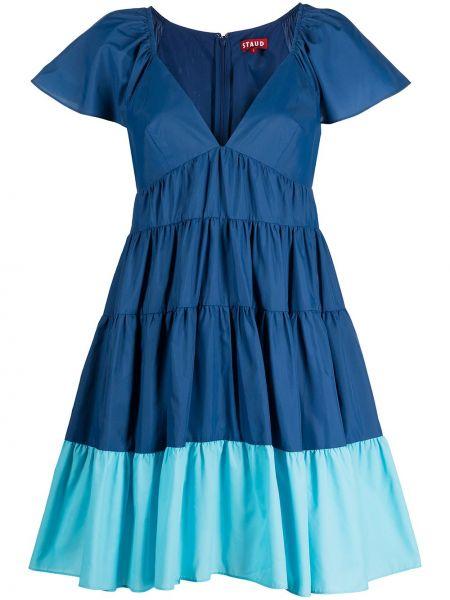 Синее нейлоновое платье мини с V-образным вырезом Staud