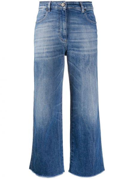 Классические синие свободные укороченные джинсы свободного кроя Pt01