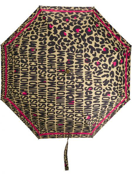 Brązowy parasol z printem Moschino
