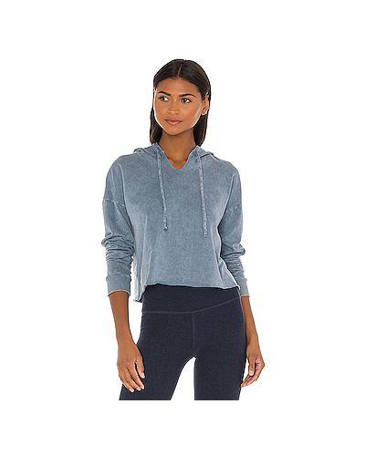 Хлопковый синий вязаный свитер с воротником Beyond Yoga