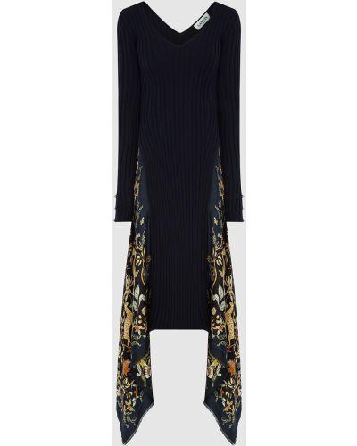 Шерстяное платье миди - синее Lanvin