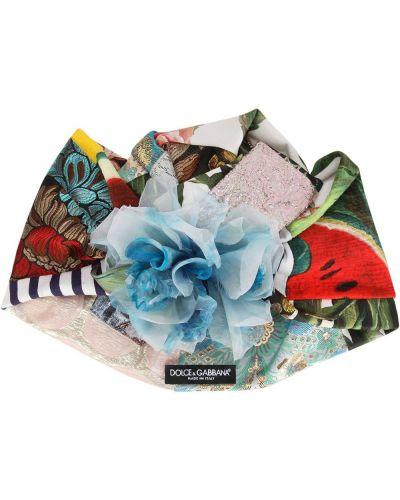 Turban z jedwabiu z printem Dolce And Gabbana