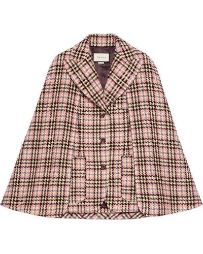 Wełniany peleryna z kieszeniami z klapami z łatami Gucci