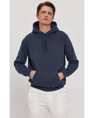 Bluza z kapturem bawełniana granatowa Polo Ralph Lauren