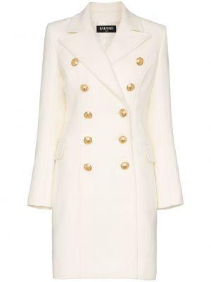 Белое шерстяное пальто с воротником двубортное Balmain