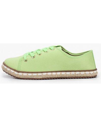 Зеленые текстильные низкие кеды Moleca