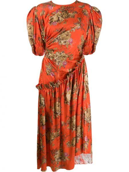 Красное платье мини с вырезом с короткими рукавами с декоративной отделкой Preen By Thornton Bregazzi