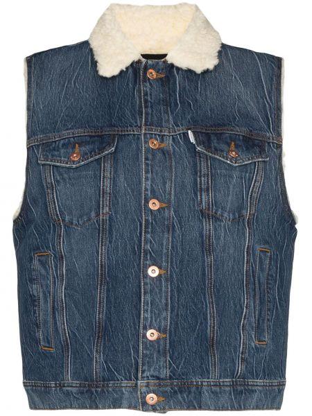 Синяя джинсовая куртка с вышивкой на пуговицах Filles A Papa