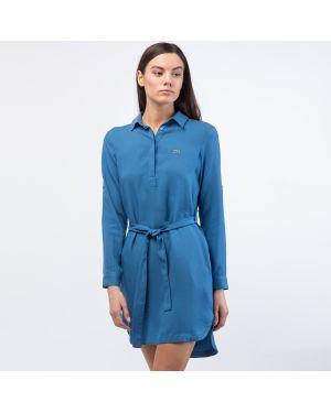 Платье с поясом однотонное зеленый Lacoste