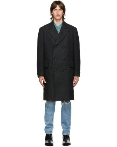 Wełniany długo płaszcz prążkowany z klapami z kołnierzem Gucci