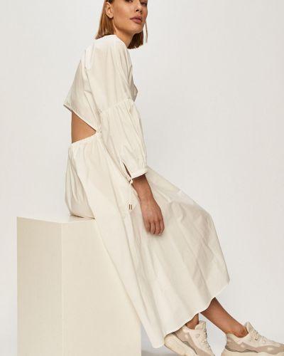 Biała sukienka midi rozkloszowana na co dzień Trussardi Jeans