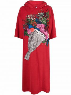 Хлопковое платье миди - красное Kenzo