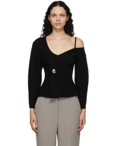 Черный шерстяной длинный свитер с V-образным вырезом 3.1 Phillip Lim