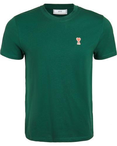 Zielony t-shirt bawełniany krótki rękaw Ami