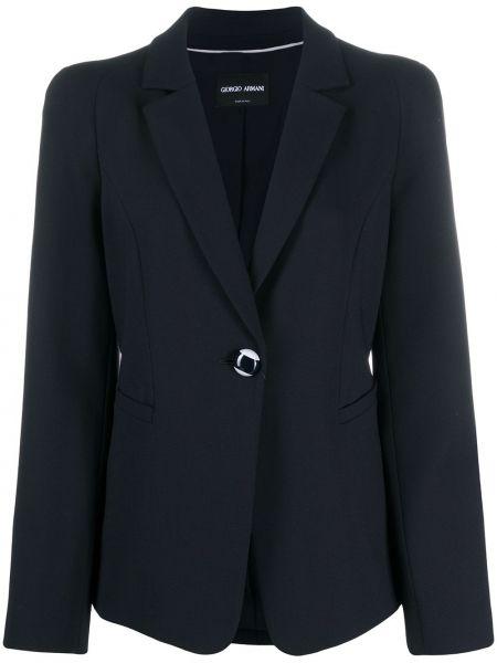 Синий однобортный удлиненный пиджак с воротником на пуговицах Giorgio Armani