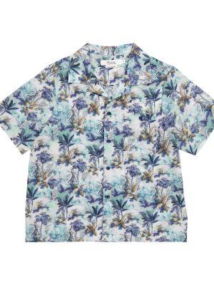 Теплая хлопковая синяя рубашка Bonpoint