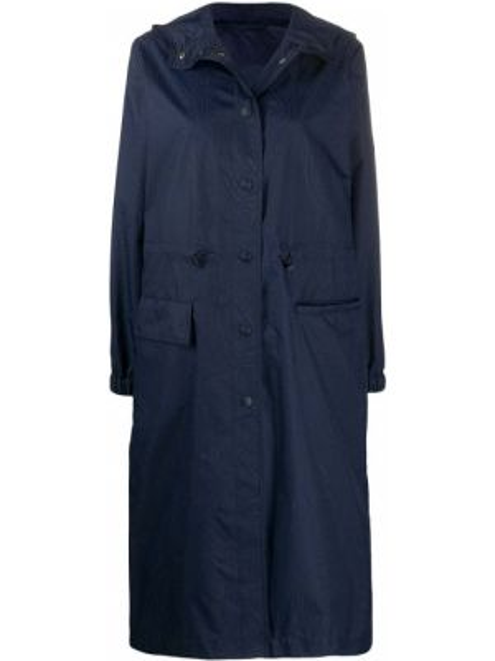 С кулиской синий длинное пальто с капюшоном Etro