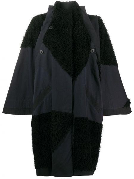 Черное свободное пальто оверсайз на пуговицах 132 5. Issey Miyake