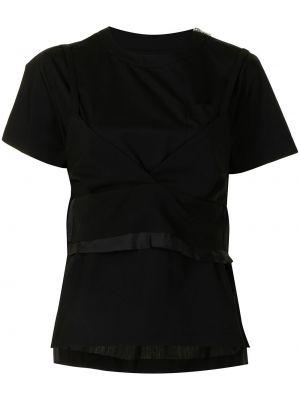 Хлопковая футболка - черная Sacai