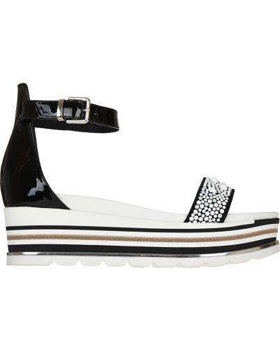 Босоножки на каблуке лаковые замшевые Loretta Pettinari