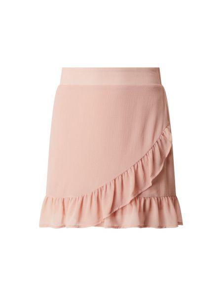 Różowa spódnica mini z falbanami rozkloszowana Vila