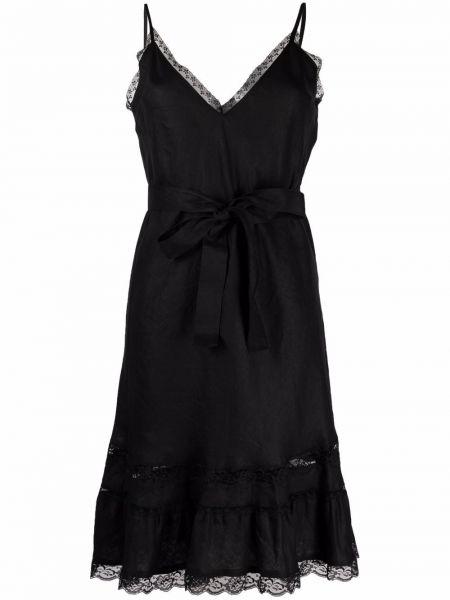Кружевное черное ажурное платье с вырезом Gold Hawk