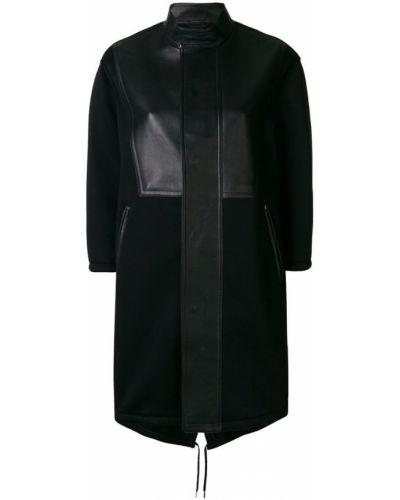 Однобортное черное длинное пальто с капюшоном Neil Barrett
