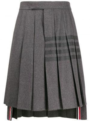 Плиссированная кашемировая серая плиссированная юбка с потайной застежкой Thom Browne