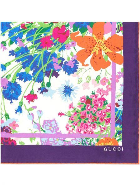 Karmazynowy jedwab szalik przycięte wzór w kwiaty Gucci