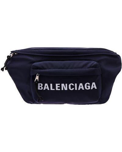 Синий текстильный ремень с карманами с вышивкой Balenciaga