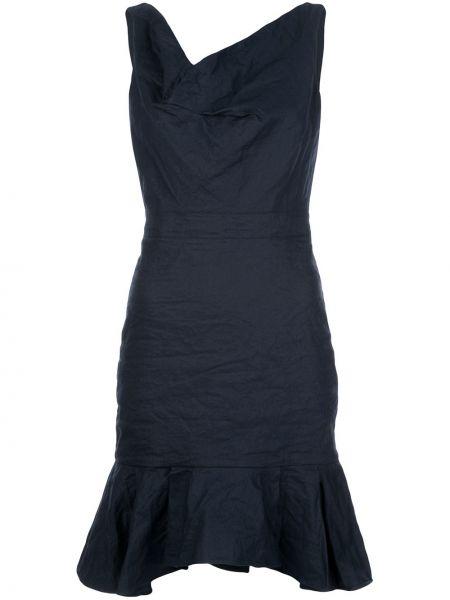 Niebieska sukienka mini bez rękawów bawełniana Nicole Miller