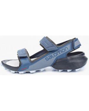 Синие кожаные сандалии Salomon