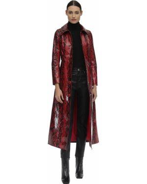 Кожаное пальто с воротником Stand
