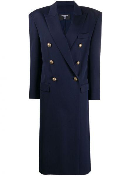 Синее шерстяное длинное пальто оверсайз Balmain