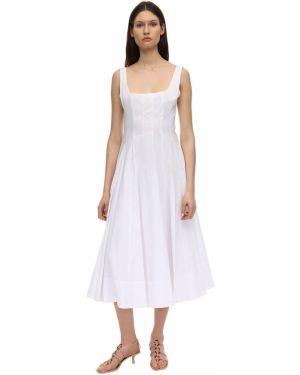 Платье миди с декольте на бретелях из поплина без рукавов Staud