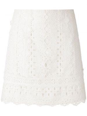 Ажурная с завышенной талией белая юбка мини Martha Medeiros
