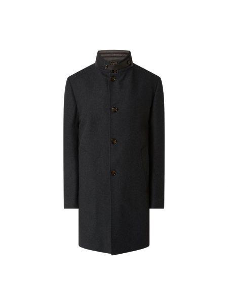 Wełniany płaszcz z kieszeniami z zamkiem błyskawicznym ze stójką Windsor