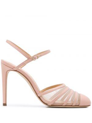 С ремешком нейлоновые розовые кожаные туфли с пряжкой Chloe Gosselin