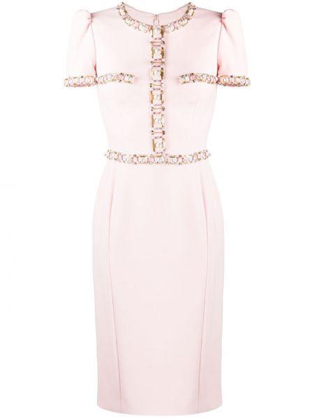 Деловое с рукавами розовое платье мини Jenny Packham