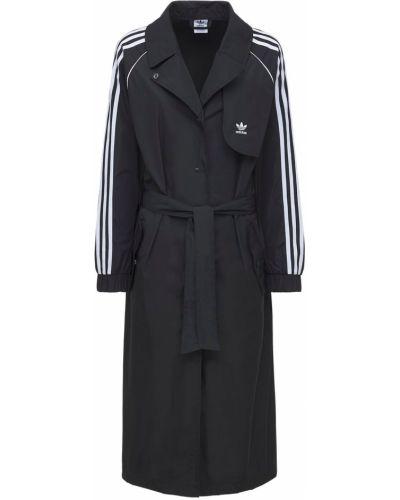 Czarny płaszcz z paskiem Adidas Originals