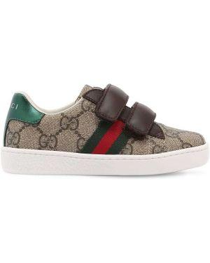 Бежевые кожаные кроссовки на липучках Gucci
