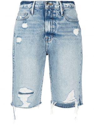 Хлопковые синие джинсовые шорты с карманами Frame