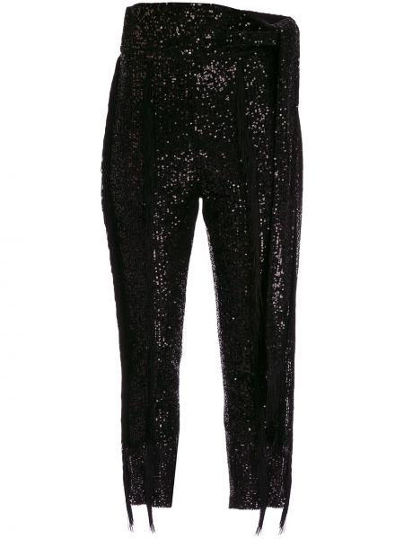 Черные брюки с пайетками с завязками Christian Pellizzari