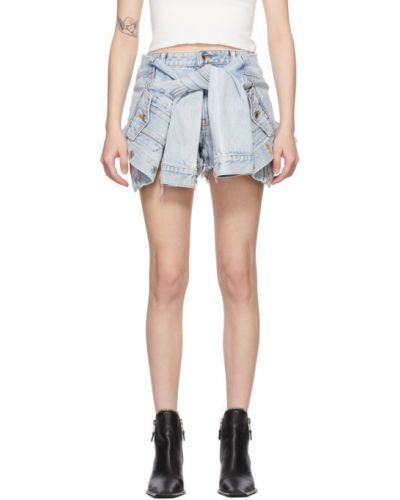 Niebieski dżinsowa spódnica z kieszeniami z haftem Alexander Wang