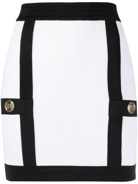 С завышенной талией белая юбка мини на пуговицах Balmain
