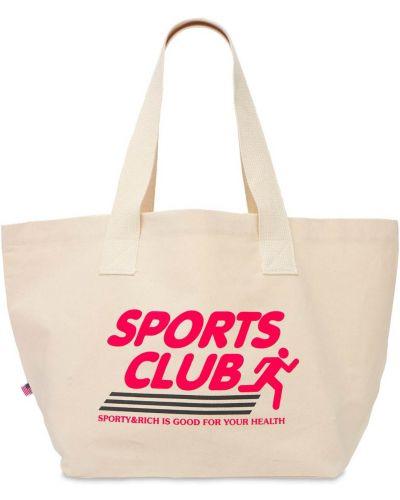 Хлопковая бежевая сумка с ручками Sporty And Rich