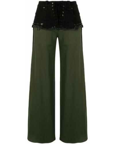 Хлопковые черные расклешенные брюки на молнии Unravel Project