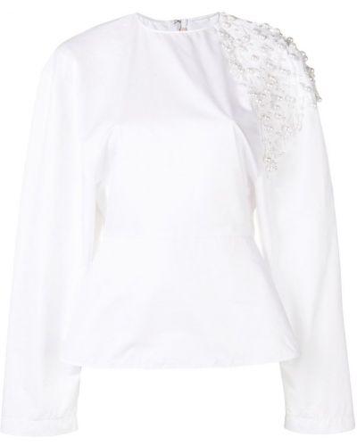 Блузка с длинным рукавом с жемчугом белая Christopher Kane