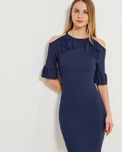 Синее платье с открытыми плечами Lost Ink.